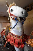 A model of a horse is carefully crafted by an artist at a studio in Fukuoka's Hakata Ward for use on a Hakata Gion Yamakasa festival float, on June 14, 2021. (Mainichi/Yoshiyuki Hirakawa)