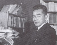 """Takeshi Shinmura is seen in this photo taken in 1956 when he was a professor at Nagoya University. He worked as a peace activist during his postwar career. (Image taken from """"Midori no Ki: Shinmura Takeshi tsuiso,"""" published in 1995 and edited by the Shinmura Takeshi compilation publishing committee)"""