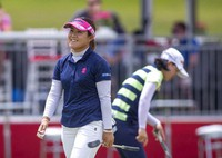 Nasa Hataoka reacts on the 18th hole during the first round of the Meijer LPGA Classic golf tournament at the Blythefield Country Club in Belmont, Mich., on June 17, 2021. (Cory Morse/The Grand Rapids Press via AP)