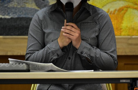 The defendant, a Vietnamese woman working as a technical intern trainee, is seen speaking at a news conference on April 24, 2021, in the city of Kumamoto. (Mainichi/Takehiro Higuchi)
