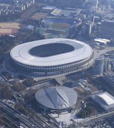 Japan National Stadium, where opening ceremony are planned for Tokyo Olympics,  Jan. 21, 2021, in Tokyo. (Mainichi)