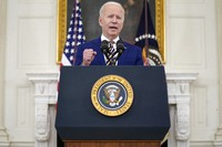 President Joe Biden speaks about reaching 300 million COVID-19 vaccination shots, in the State Dining Room of the White House, on June 18, 2021, in Washington. (AP Photo/Evan Vucci)
