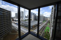 A view from residential buildings for athletes during a media tour at the Olympic and Paralympic Village for the Tokyo 2020 Games, constructed in the Harumi waterfront district of Tokyo, on Sunday, June 20, 2021. (Akio Kon/Pool Photo via AP)