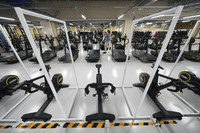 A gym at Tokyo 2020 Olympic and Paralympic Village is seen during the press tour on Sunday, June 20, 2021, in Tokyo. (AP Photo/Eugene Hoshiko)