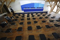 A press conference room at the Village Plaza is seen near Tokyo 2020 Olympic and Paralympic Village on Sunday, June 20, 2021, in Tokyo. (AP Photo/Eugene Hoshiko)