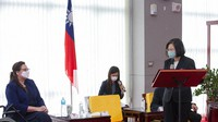 In this June 6, 2021, file photo released by the Taiwan Presidential Office, President Tsai Ing-wen, right, speaks near U.S. Democratic Sen. Tammy Duckworth, left, of Illinois in Taipei, Taiwan. (Taiwan Presidential Office via AP, File)