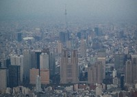 This photo shows a group of buildings in the capital's Shinjuku Ward in April 2020. In the center is the Tokyo Metropolitan Government Building. (Mainichi/Kota Yoshida)