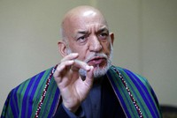 Former Afghan President Hamid Karzai speaks during an interview to the Associated Press in Kabul, Afghanistan, on June 20, 2021. (AP Photo/Rahmat Gul)