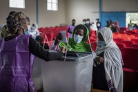 Ethiopians cast their votes in the general election at a polling center in Addis Ababa, Ethiopia, on June 21, 2021. (AP Photo/Ben Curtis)