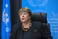 In this Dec. 9, 2020 file photo, Michelle Bachelet, UN High Commissioner for Human Rights, speaks during a press conference at the European headquarters of the United Nations in Geneva, Switzerland. (Martial Trezzini/Keystone via AP)