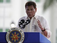 In this June 12, 2021 photo, Philippine President Rodrigo Duterte speaks during ceremonies to mark the 123rd anniversary of the Philippine independence at the Provincial Capitol of Bulacan province in Philippines. (AP Photo/Aaron Favila)
