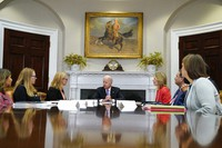 President Joe Biden speaks during a meeting with FEMA Administrator Deanne Criswell, third from left, and Homeland Security Adviser and Deputy National Security Adviser Elizabeth Sherwood-Randall, fifth from left, in the Roosevelt Room of the White House, on June 22, 2021, in Washington. (AP Photo/Evan Vucci)