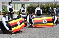 Uganda's Olympic team arrive at a hotel in the city of Izumisano, Osaka Prefecture, on June 20, 2021. (Mainichi/Kenji Konoha)