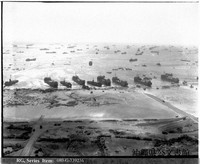 U.S. tank landing ships arrive on a beach on Okinawa's main island, on April 3, 1945. (Photo courtesy of the Okinawa Prefectural Archives)