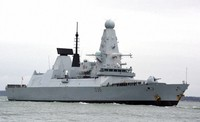 This March 20, 2020 file photo shows HMS Defender in Portsmouth, England.  (Ben Mitchell/PA via AP)