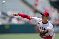 Los Angeles Angels starting pitcher Shohei Ohtani throws to the plate during the first inning of a baseball game against the San Francisco Giants on June 23, 2021, in Anaheim, California. (AP Photo/Mark J. Terrill)