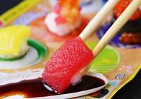 The Fun Sushi Kit even comes with soy sauce-style black dipping liquid, as seen in this image taken in Kita Ward, Osaka, on June 3, 2021. (Mainichi/Satoshi Hishida)