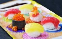"""The """"Fun Sushi Kit"""" DIY candy set completed in about 30 minutes is seen in Kita Ward, Osaka, on June 3, 2021. (Mainichi/Satoshi Hishida) =Click/tap photo for more images."""