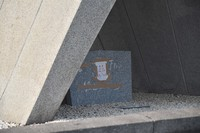 A piece of paper is seen taped to the Cenotaph for A-bomb Victims at Hiroshima Peace Memorial Park in the city's Naka Ward on June 24, 2021. (Mainichi/Misa Koyama)