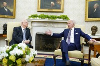 President Joe Biden meets with Israeli President Reuven Rivlin in the Oval Office of the White House in Washington, on June 28, 2021. (AP Photo/Susan Walsh)