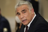 In this June 27, 2021 file photo, Israeli Foreign Minister Yair Lapid meets with Secretary of State Antony Blinken in Rome. (AP Photo/Andrew Harnik)