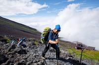 Climbers heading for the summit of Mount Fuji are seen at the seventh station on the Yoshida trail in Yamanashi Prefecture on June 30, 2021. (Mainichi/Kota Yoshida)
