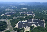 Solar panels cover an area of 82 hectares in the western Japan city of Akaiwa, Okayama Prefecture, in this photo taken from a Mainichi Shimbun helicopter on June 1, 2021. (Mainichi/Kenji Konoha)