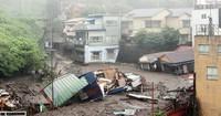 Buildings are seen crushed after a mudslide in Atami, Shizuoka Prefecture, on July 3, 2021. (Mainichi/Kentaro Ikushima)
