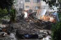 A part of central Atami, Shizuoka Prefecture, is seen after sustaining serious damage in a massive mudslide, on July 3, 2021. (Mainichi/Natsuki Nishi)