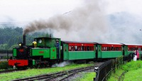 SL Abt-kun is seen blowing out smoke while running at Usuitouge Railway Heritage Park in Annaka, Gunma Prefecture, on July 4, 2021. (Mainichi/Shin Sato)