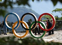 The Olympic rings are seen at the top of Mount Takao in Hachioji, Tokyo, on May 14, 2021. (Mainichi/Masahiro Ogawa)