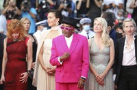 Jury president Spike Lee, center, poses with jury members, from left, Mylene Farmer, Maggie Gyllenhaal, Melanie Laurent, and Jessica Hausner at the premiere of the film 'Annette' and the opening ceremony of the 74th international film festival, in Cannes, southern France, on July 6, 2021. (Photo by Vianney Le Caer/Invision/AP)