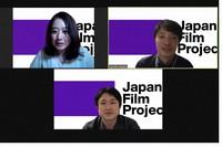 This photo shows the founders of the Japanese Film Project (clockwise from left): Erina Ito, Tatsuhito Utagawa, and Takashi Nishihara.
