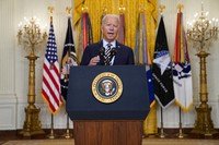 President Joe Biden speaks about the American troop withdrawal from Afghanistan, in the East Room of the White House, on July 8, 2021, in Washington. (AP Photo/Evan Vucci)