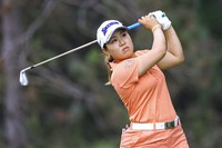 Nasa Hataoka tees off on the second hole during the first round of the LPGA Marathon Classic golf tournament, on July 8 2021, at Highland Meadows in Sylvania, Ohio. (Jeremy Wadsworth/The Blade via AP)