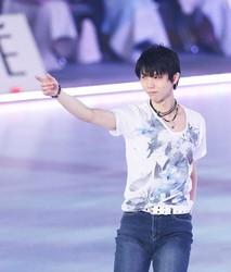 Figure Skater Yuzuru Hanyu appears in the opening performance of Dreams on Ice 2021, at Kose Shin Yokohama Skate Center in Yokohama's Kohoku Ward on July 9, 2021. (Pool photo)