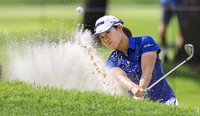 Nasa Hataoka hits out of a trap on the No. 17 hole during the second round the LPGA Marathon Classic golf tournament on July 9, 2021, at Highland Meadows in Sylvania , Ohio. (Jeremy Wadsworth/The Blade via AP)