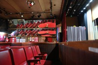 The Hiroshima Daiichi Gekijyou strip show theater, characterized by the mirrors on the wall near the audience seats, is seen in this May 2021 photo. (Mainichi/Naohiro Yamada)