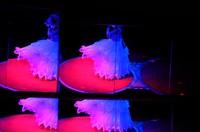 Strip show dancer Yukina is seen performing on a rotating table as mirrors reflect on the wall of Hiroshima Daiichi Gekijyou theater in the city's Naka Ward, as seen in this May 2021 photo. (Mainichi/Naohiro Yamada)