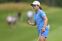 Nasa Hataoka, of Japan, pumps her fist after a birdie putt on the 18th hole during the third round of the Marathon LPGA Classic golf tournament at Highland Meadows Golf Club in Sylvania, Ohio, Saturday, July 10, 2021, in Sylvania, Ohio. (AP Photo/David Dermer)