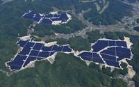 Solar panels cover a mountainous area in the western Japan city of Akaiwa, Okayama Prefecture, in this photo taken from a Mainichi Shimbun helicopter in June 2021. (Mainichi/Kenji Konoha)