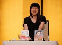 Taiwan-born author Li Kotomi, who won the Akutagawa Prize, speaks at a hotel in Tokyo on July 14, 2021. (Mainichi)