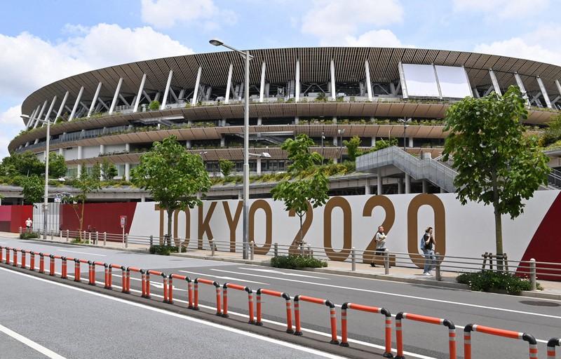 Difoto oleh Takehiko Onishi pada 3 Juni 2021 di Stadion Nasional, yang merupakan tempat utama Olimpiade Tokyo, di Shinjuku-ku, Tokyo.