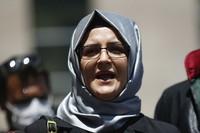 In this July 3, 2020, file photo, Hatice Cengiz, the fiancee of slain Saudi journalist Jamal Khashoggi, talks to members of the media in Istanbul. (AP Photo/Emrah Gurel)