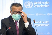 In this May 24, 2021 file photo, Tedros Adhanom Ghebreyesus, director general of the World Health Organization (WHO), speaks at the WHO headquarters, in Geneva, Switzerland. (Laurent Gillieron/Keystone via AP, File)