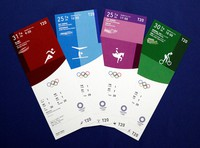 This image provided by the Tokyo 2020 organizing committee show designs of tickets for the Tokyo Olympic Games.