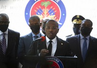 Haiti's interim Prime Minister Claude Joseph gives a press conference in Port-au-Prince, on July 16, 2021, the week after the assassination of Haitian President Jovenel Moise's on July 7. (AP Photo/Joseph Odelyn)
