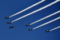 Fighter jets of Japan's Air Self-Defense Force aerobatics team Blue Impulse are seen from Tokyo's Shinjuku Ward on July 21, 2021, in a rehearsal two days ahead of the start of the Tokyo Olympics. (Mainichi/Emi Naito)