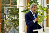 U.S. Special Presidential Envoy for Climate John Kerry delivers a policy speech in the Nash Conservatory at the Royal Botanic Gardens, Kew, in west London, on July 20, 2021. (AP Photo/Matt Dunham)