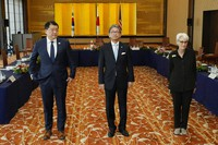 U.S. Deputy Secretary of State Wendy Sherman, right, South Korean First Vice Foreign Minister Choi Jong Kun, left, with Japanese Vice-Minister for Foreign Affairs Takeo Mori, center, pose for photographers prior to their trilateral meeting at the Iikura Guesthouse on July 21, 2021, in Tokyo. (AP Photo/Eugene Hoshiko)